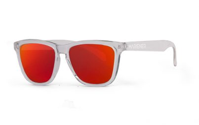 Our new Mariener Clear Melange Sunglasses with Reflective Red Lava Lens.