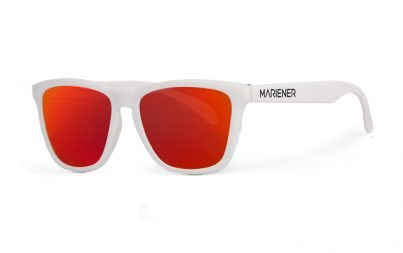 Our new Mariener Matt White Melange Sunglasses with Reflective Red Lava Lens.