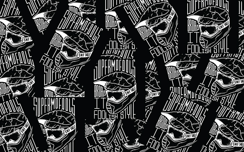 These are official Supermofools Stickers in Black and White with the Mariener Moto MX Goggle design.