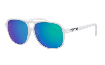 White Motion Aviator Sunglasses with our reflective Ocean lenses