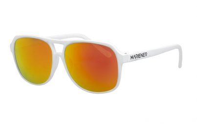 White Motion Aviator Sunglasses with our reflective Orange Lava lenses
