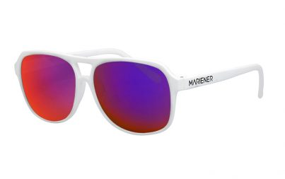 White Motion Aviator Sunglasses with our reflective Purple Lava lenses