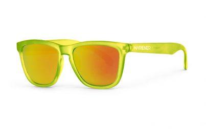 Our new Mariener Frozen Citrus Melange Sunglasses with Reflective Orange Lava Lens.