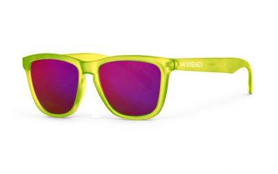 Our new Mariener Frozen Citrus Melange Sunglasses with Reflective Purple Lava Lens.