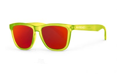 Our new Mariener Frozen Citrus Melange Sunglasses with Reflective Red Lava Lens.