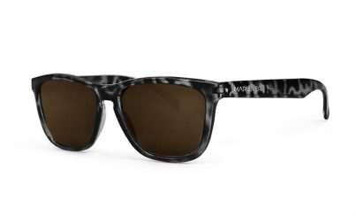 Mariener Melange Tortoise Black Sunglasses with our reflective and polarized Dark Brown lenses