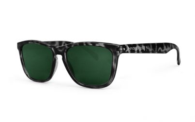 Mariener Melange Tortoise Black Sunglasses with our reflective and polarized Dark Green lenses