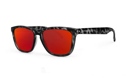 Tortoise Black Melange Sunglasses with our Reflective Red Lava lenses