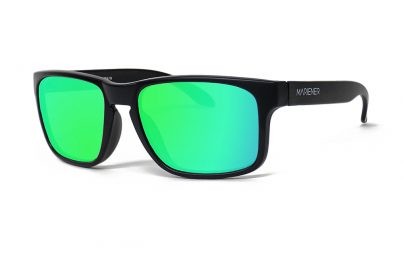 Matt Black Makan Sunglasses with our Reflective Lime lenses