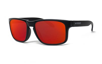 Matt Black Makan Sunglasses with our Reflective Red Lava lenses