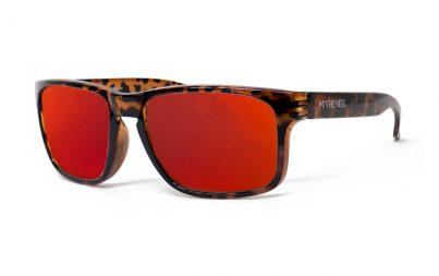 Tortoise Makan Sunglasses with our Reflective Red Lava lenses