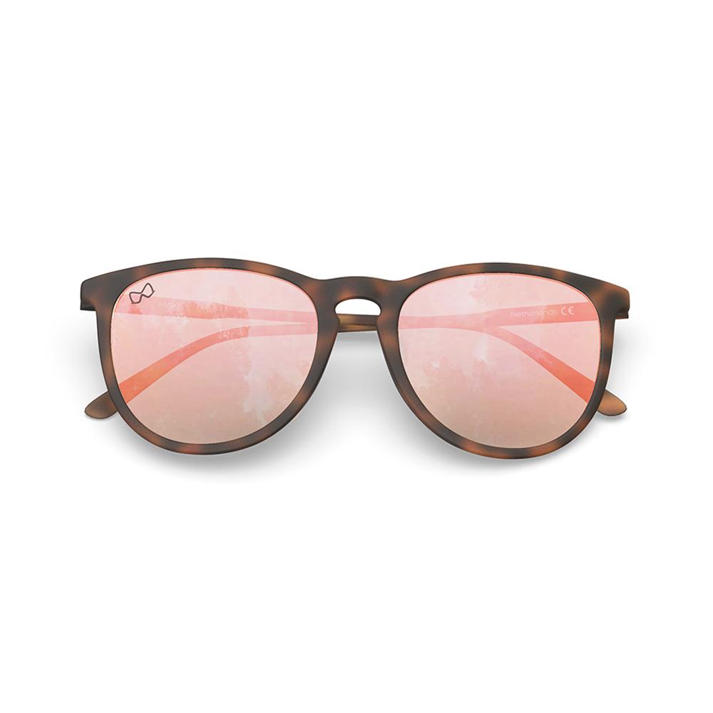Mariener-Maki-Round-Rubber-Tortoise-Rose-Gold-Sunglasses-Bruine-Zonnebril-Folded